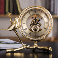 Luxury Golden Brass Clock Home Docor Bird Statue Bedroom Decoration Decorative Clock Eurpoean Style Table Clock Desktop Clock