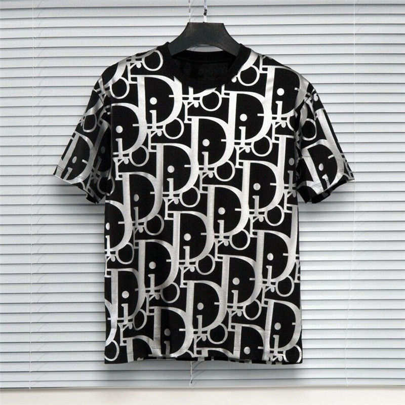 Women's spring and summer new letter reflective printing men's and women's fashion loose short sleeve round neck T-shirt