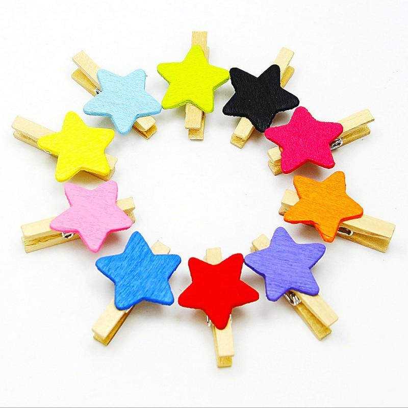50pcs Mini Flower Star Shape Wooden Clips for Photo Paper Clip Peg Pin Clothespin Postcard Clips Wood Pentagram Storage Clips D