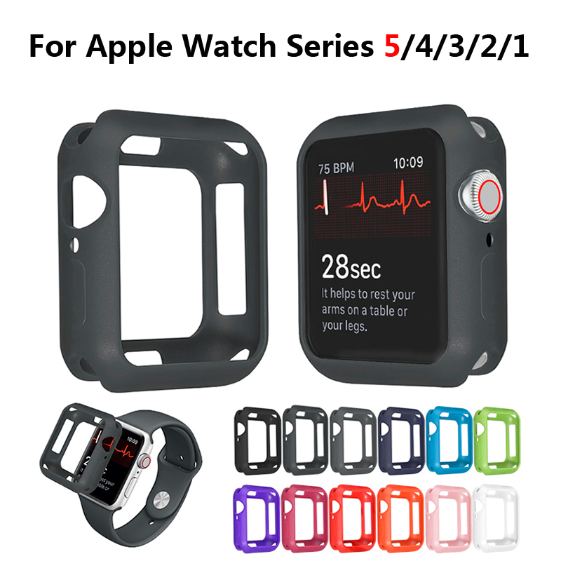 Soft Silicone Case for <font><b>Apple</b></font> <font><b>Watch</b></font> <font><b>3</b></font> 2 1 <font><b>42MM</b></font> 38MM Cover Full Protection Shell for iWatch 4 5 40MM 44MM <font><b>Watch</b></font> Bumper image