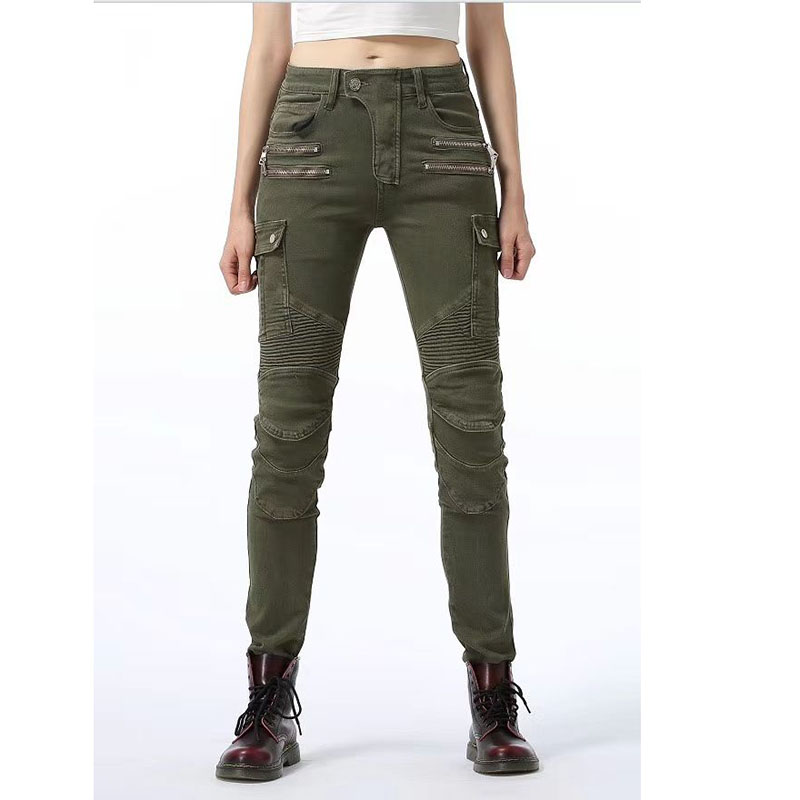 2019 New Motorcycle Pants Women Komine Same Jeans Off-road Motocross Pants Zipper Design With Protective Gear For Women