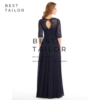 Navy Blue Chiffon Mother of the Bride Dresses for Weddings 2019 V-Neck Lace Half Sleeves Pleats Wedding Party Gowns Hollow Back 3