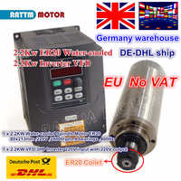 DE 2.2KW ER20 water cooled spindle motor 24000rpm 4 bearings & 2.2KW VFD 220V inverter for CNC Router Engraving milling machine
