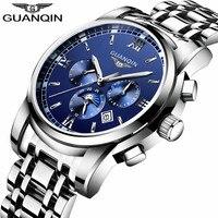 2018 Negócio GUANQIN Homens Relógio Marca De Luxo Automatic Self-Vento relógio de Pulso Mecânico de Aço Inoxidável À Prova D' Água Homens Relógio Hora