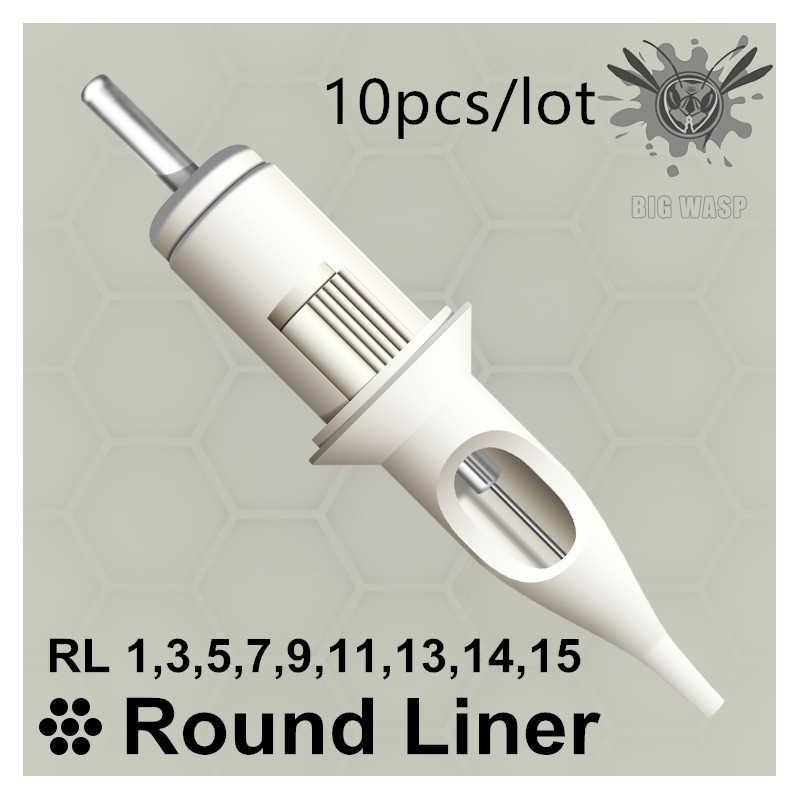 Перманентный макияж RL 10 шт., круглая подводка для тату-машинки, картридж, игольчатые принадлежности, 1RL/3RL/5RL/7RL/9RL/11RL/13RL/14RL/15R
