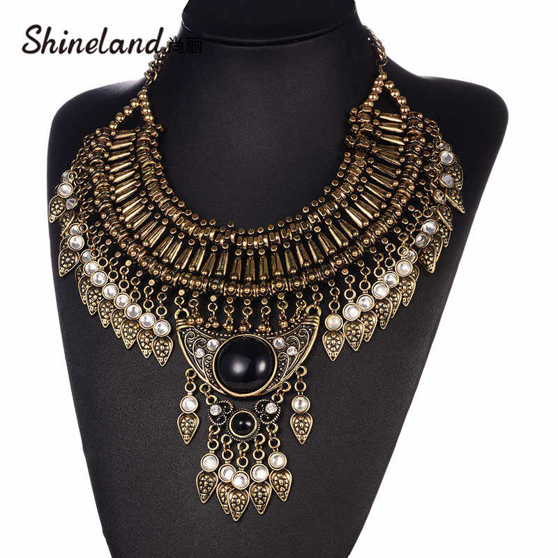 Shineland Tribal Big Antique Gold Tribal Exaggerated Tassel Necklace & Pendant Vintage Maxi Choker Statement Collier Women Gift