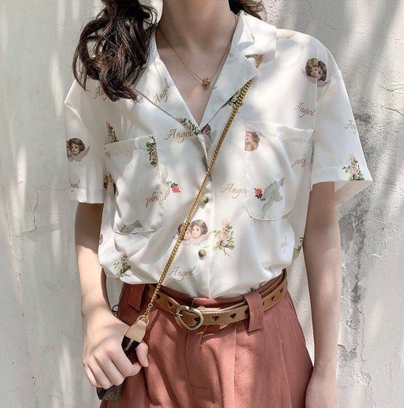Блузка женская с узором deeptown винтажная рубашка в Корейском
