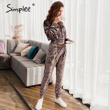 Suit Simplee Flannel Sweatshirt Hooded Two-Piece-Set Slim Jogging Autumn Fashion Women's