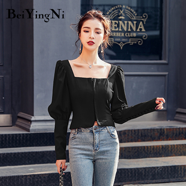 Beiyingni Sexy Blouses Womens Wine Red Black Autumn Long Sleeve 2020 Slim Casual Blusas Female Cropped Top Fashion Korean Shirts 2