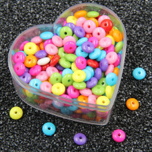 50PCS Candy Color Oblate Acrylic Beads DIY Childrens Toys Abacus Bracelet Beaded Jewelry Accessories 8mm