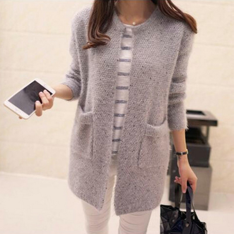 Korean-style Women's Clothing Mohair With Pockets Mid-length Sweater Knit Cardigan Jacket Multiple Colors