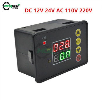 DC 12V 24V AC 110V 220V Programmable Digital Time Delay switch relay T2310 Normally Open timer control module 0-999s/min/hour dc 12v 24v ac 110v 220v cycle time timer delay relay led dual digital display timing adjustable power supply thermolator