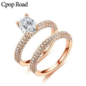 Cpop роскошное свадебное кольцо комплект цвета: золотистый, серебристый Циркон Кольца для Новинки женщин элегантные ювелирные изделия юбиле...