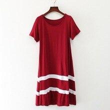Loose Dress 2019 Women Summer New Dress Stitching Striped Short-sleeved O-neck Large Swing Dress