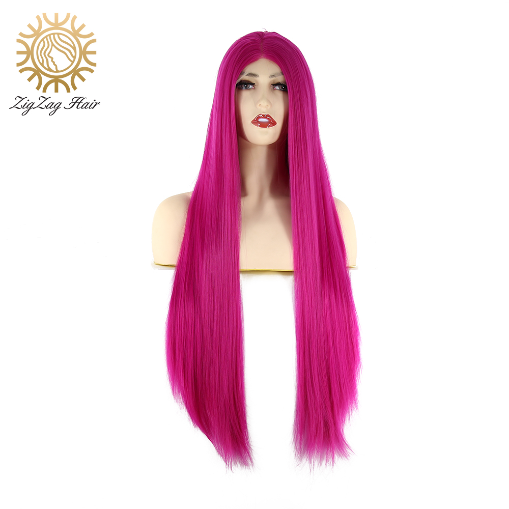 ZigZag Bright Rose Red Synthetic Lace Front Wig for Black Women Glueless Long Straight Middle Part Heat Resistant Fiber Hair