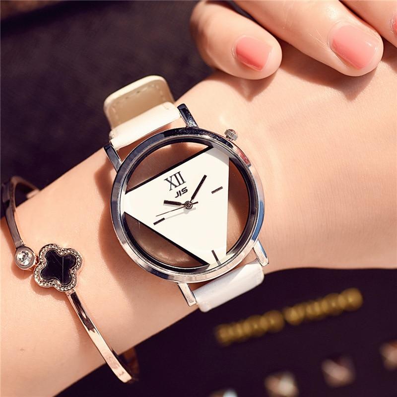 Hollow Triangle Dial Design Creative Watches Women Fashion Novelty Quartz Wristwatches Simple Black White Leather Unisex Watch