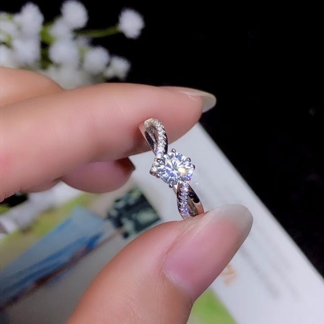 Moissanite 925 real silver high density gemstones comparable to diamonds resizable rings for women 4