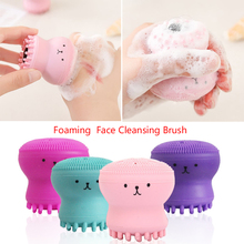 Hot Silicone Octopus Foaming  Face Cleansing Brush Facial Cleanser Wash Face Brush Cleaning Instrument Silicone Skin Care Tool suction black equipment cleansing instrument home to facial cleanser special oval head multi functional beauty tool set hot sale