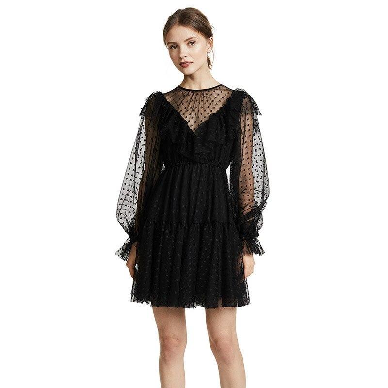 YYFS 2019 été dentelle noir Chic robe décontracté mode femme fleur Boho imprimer robes à manches longues vêtements moulante robe