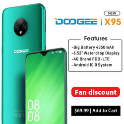 DOOGEE X95 Android 10 OS 4G-LTE Handys 6.52 Display MTK6737 Quad Core 16GB ROM Dual SIM 13MP Triple kamera 4350mAh Batterie
