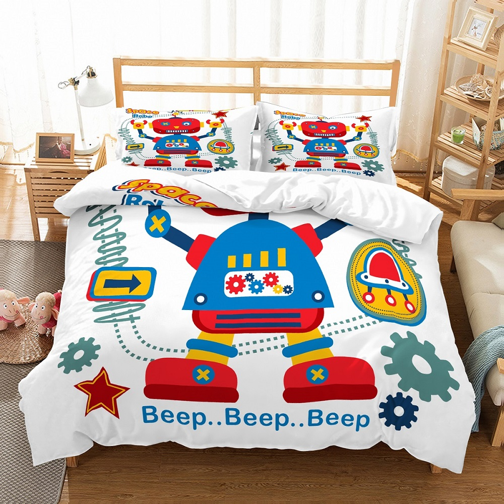 Kids Red Blue 3D Beep Space Robot Print Duvet Cover Set 2/3Pcs Microfiber Bedding Set Single Double Full Queen King Bed Cover
