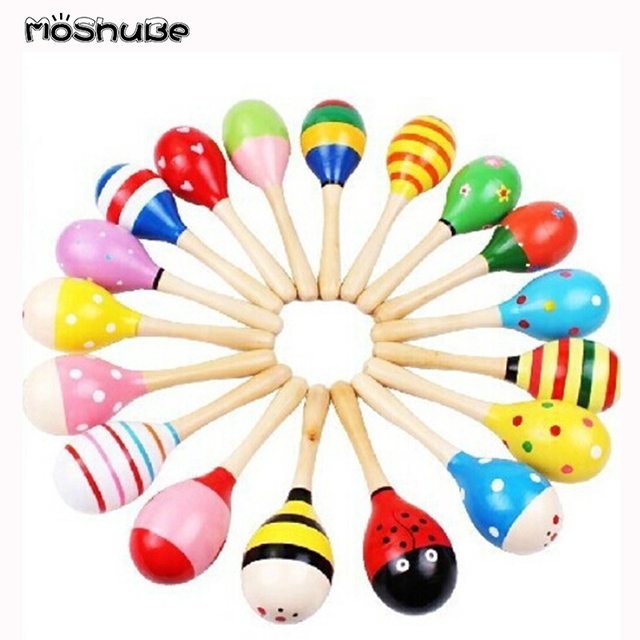Colorful Wooden Small Rattles, Maracas Beat Baby Educational Toys 0-12 Months Kids Gift for Newborns Funny Dolls  420