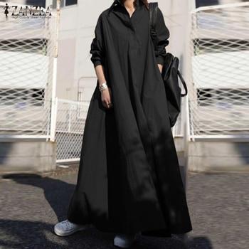 ZANZEA Autumn Stylish Women Vintage Long Sleeve Loose Sundress 2021 Casual Long Maxi Dress Kaftan Femme Solid Party Vestido Robe 1