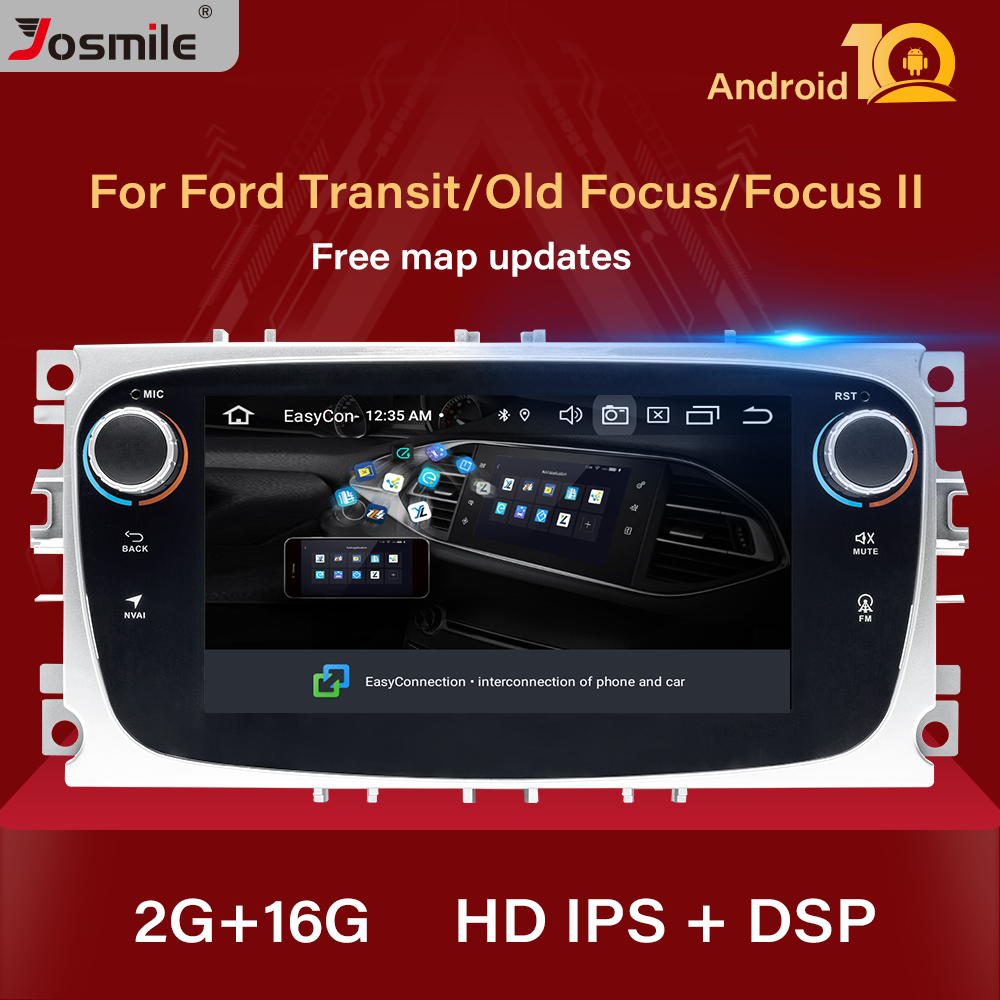 2 din Android 10 Car Radio For Ford Focus 2 3 mk2 Kuga Mondeo 4 Fiesta Transit Connect S-C MAX Multimedia GPS Navigation Stereo image