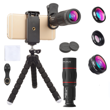 APEXEL Phone Lens Kit Fisheye Wide Angle Macro 18X Telescope Lens telephoto with 3 in 1 Mobile lens for Samsung Huawei Xiaomi