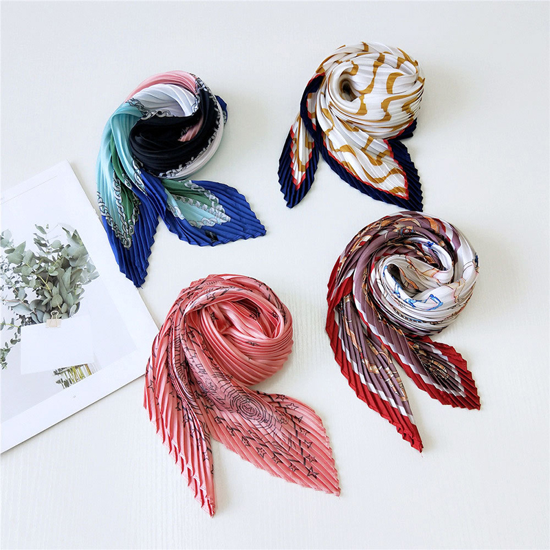 Chiffon Scarf Colorful Silk Scarf Women Fashion Print Small Neck Scarfs Fold Cute Square Scarves Girls Accessories Lady Shawl