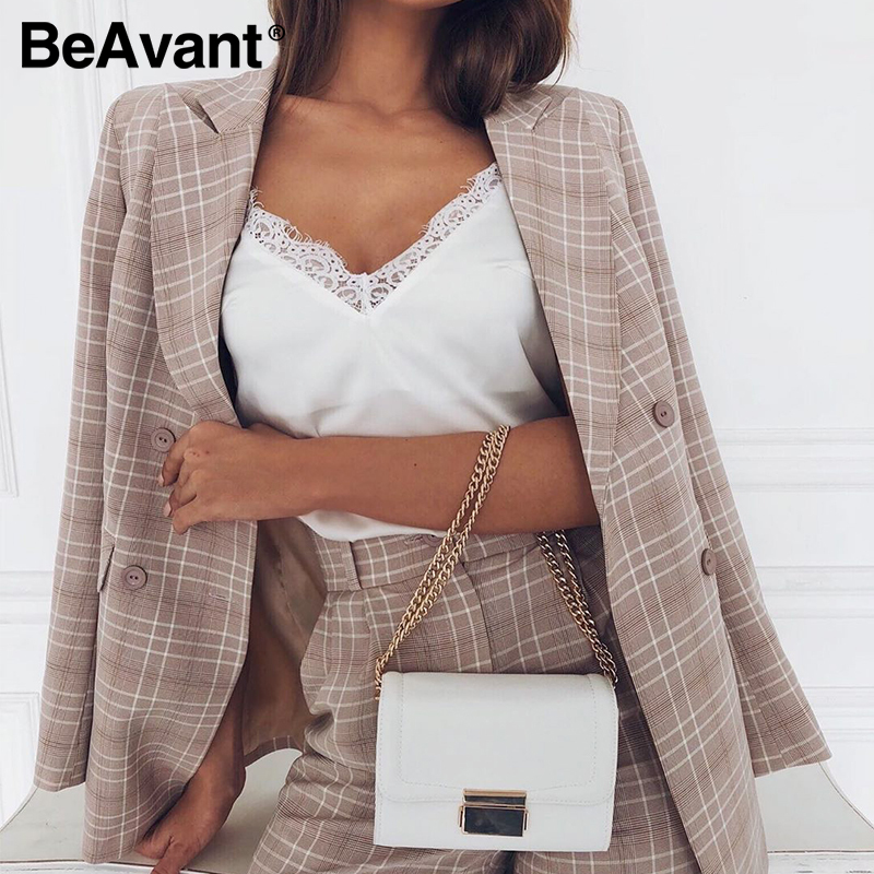 BeAvant Classic Plaid Two Pieces Suits Women Double Breasted Casual Blazer Shorts Set Female Office Spring Summer Blazer Suits