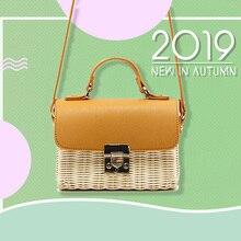 2019 new fashion square Retro Style Straw Handbags Women Rattan handbag Shoulder Bags Handmade Woven Bohemia Crossbody bag New