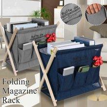 Cesta de libros plegable en forma de X, organizador impreso, plegable, 1 rejilla, para el hogar, clasificador de ropa sucia