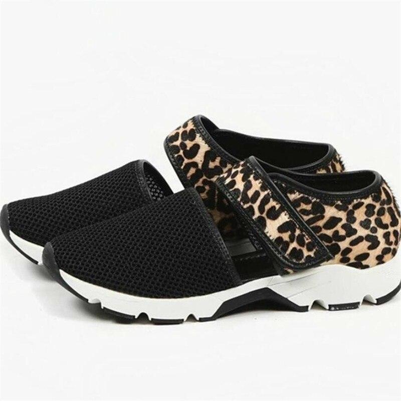 2020 Shoes Women Breathable Sneakers Summer Mesh Soft Flat Ladies Casual Shoes Hook&loop Leopard Female Sandals Plus Size 35-43