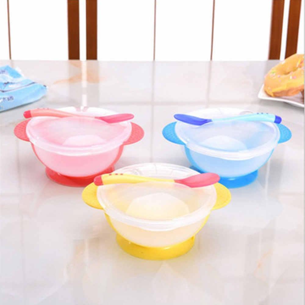 ベビーボウルスプーンカバーセット吸盤カップ幼児摂食食器抵抗温度感知カトラリー学習食器