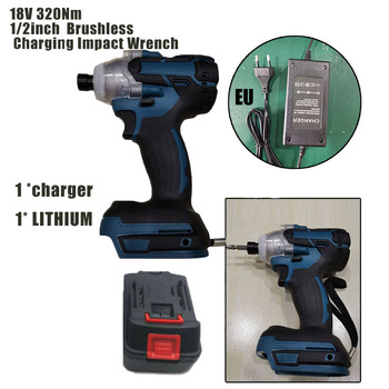 18V 520Nm 1/2in Cordless Brushless Electric Impact Wrench Rechargeable W/Battery Tungsten Steel Shaft
