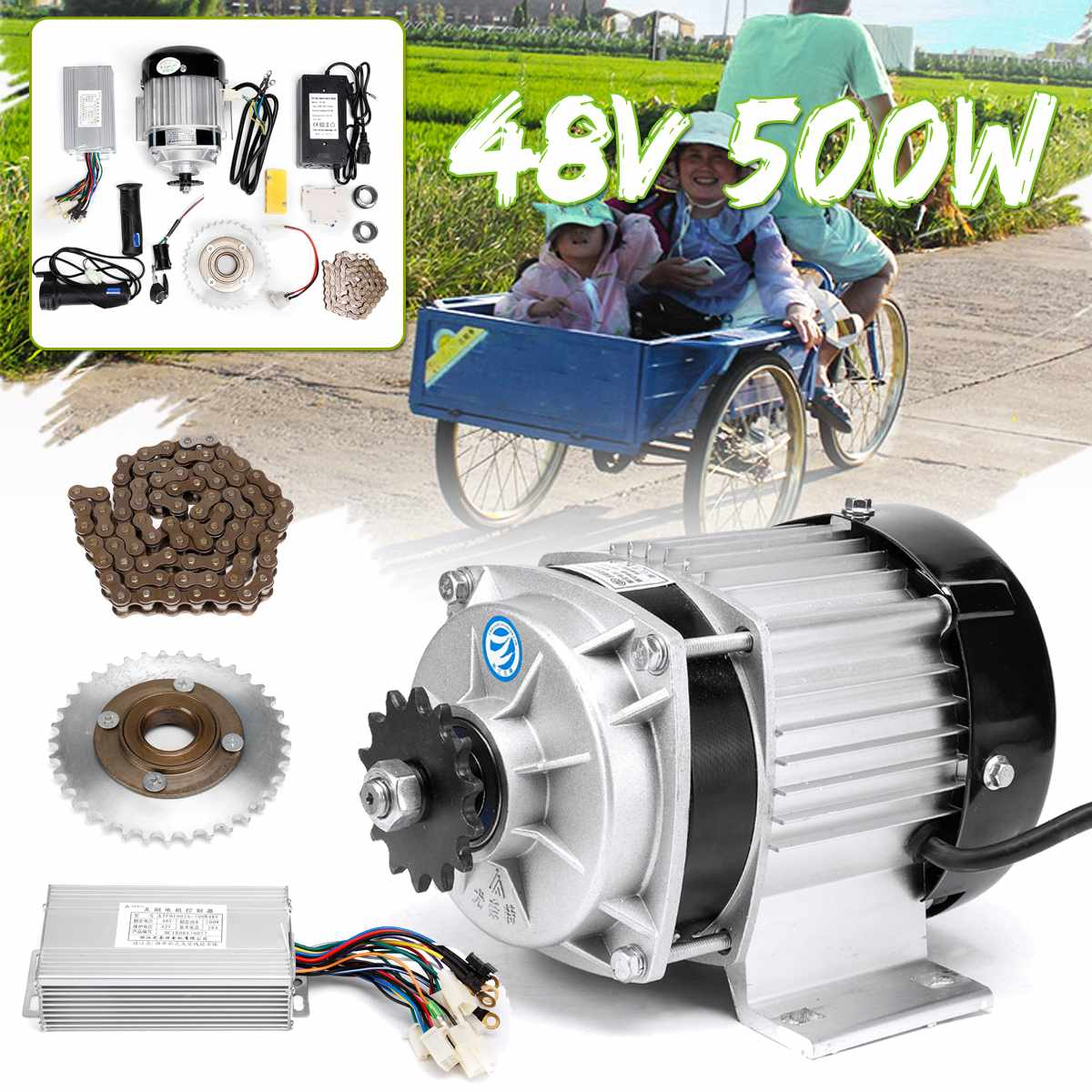 48V 500W DC Motor Engine Electric Bicycle Mid Motor With Motor Controller Flywheel Chain Kit For E-Trishaw Go Kart Scooter image