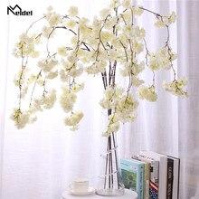 130cm Silk Hängende Sakura Zweig Hochzeit Arch Decor Layout Gefälschte Flores Home Party Wandbehang Garland Nachahmung Kirschblüten
