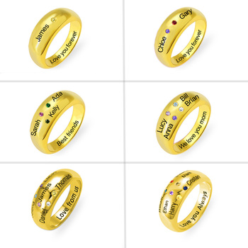 AILIN Custom Name Ring Personalized Gold 925 Silver Rings For women кольцо Bijoux Femme Wedding Band Custom Word Name Birthstone