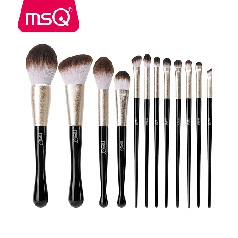 msq 12 pcs pinceis de maquiagem conjuntos po fundacao sombra contorno profissional cosmeticos compoem kit escova