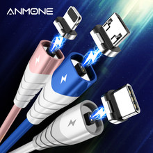 ANMONE Magnetic Cable Fast Charging Micro USB Type C Cable For iPhone 12 Xiaomi Samsung Magnet Charger Mobile Phone Wire Cord