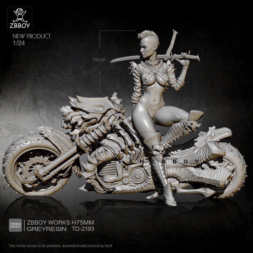 1/24 Resin Figure Kits Punk Machine Fire Motorcycle Female Swordsman Self-assembled TD-2193