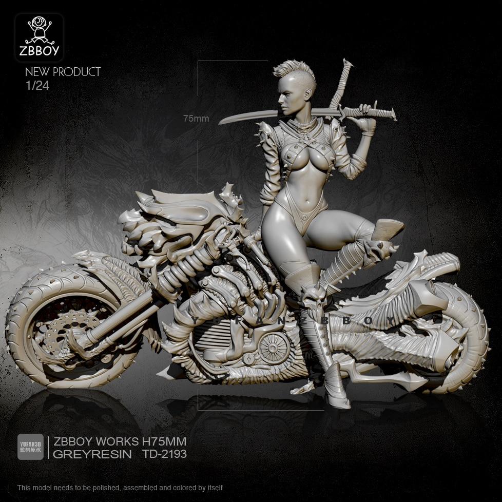 1/24 Resin Figure Kits Punk Machine Fire Motorcycle Female Swordsman Self-assembled TD-2193