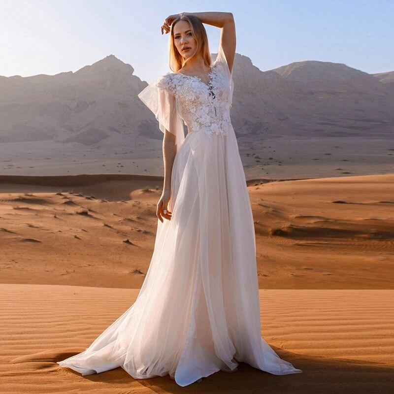 Eightale Vintage Wedding Dress Boho V-Neck Appliques Lace Tulle Vestidos De Novia 2020 Bride Dress Wedding Gowns