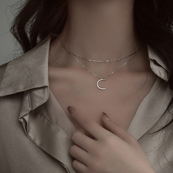 Hot Fashion 925 Sterling Silver Double-layer Moon Necklace Women Pendant Clavicle Chain Temperament Trendy Jewelry