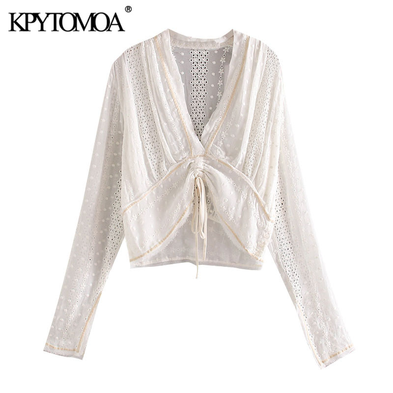 KPYTOMOA Women 2020 Fashion Embroidery Hollow Out Cropped Blouses Vintage Adjustable Waist With Bow Female Shirts Chic Tops
