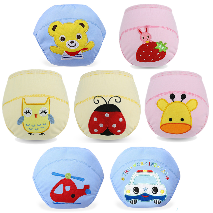 Baby Infant 100% Cotton Diaper Learning Pants Cartoon Embroidery Training Pants Boys And Girls Soft And Breathable Waterproof