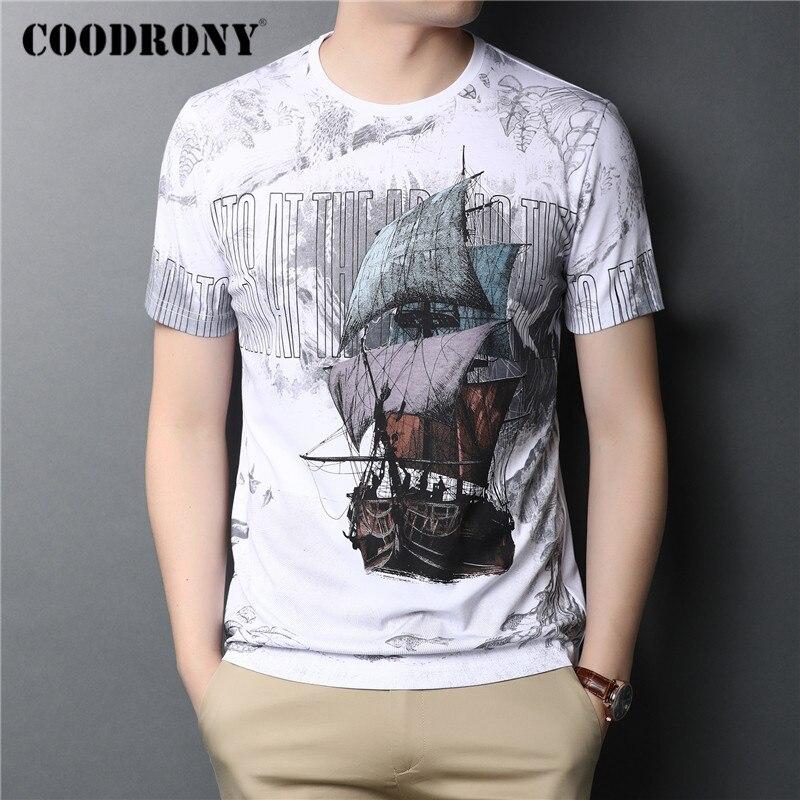 COODRONY Streetwear Fashion Sailboat Pattern T Shirt Men Spring Summer O-Neck Short Sleeve T-Shirt Casual Tee Shirt Homme C5035S