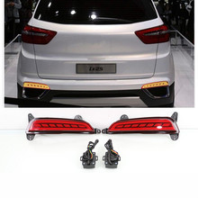 1Pair For Hyundai Creta ix25 2014 2015 2016 2017 Car Rear Bumper Light Multifunction Brake Lights LED Fog Lamp turn Signal