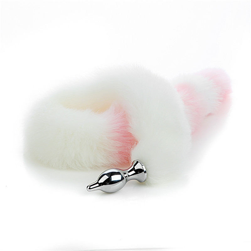 Extra Long Detachable 80cm Small Anal StuffSM Sex Object Rear Court Anal Stuffed Plush White Powder Tail Lingerie  L  Spanking